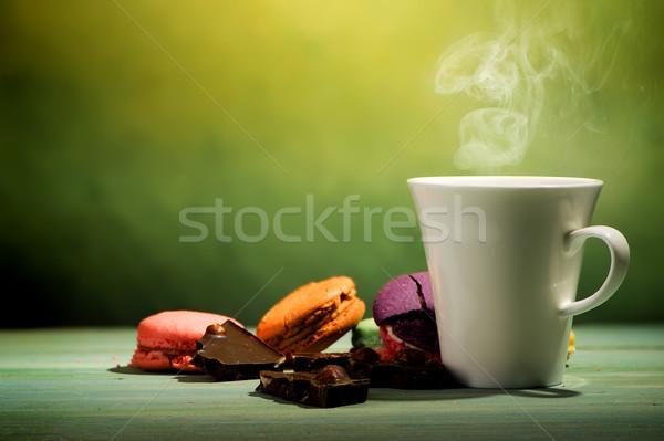 Café macarons chocolat vert alimentaire fond Photo stock © Givaga