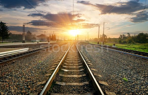 Ferrovia stazione piccolo tramonto cielo albero Foto d'archivio © Givaga