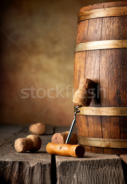 Cask and corkscrew Stock photo © Givaga