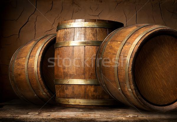Foto stock: Velho · argila · parede · madeira