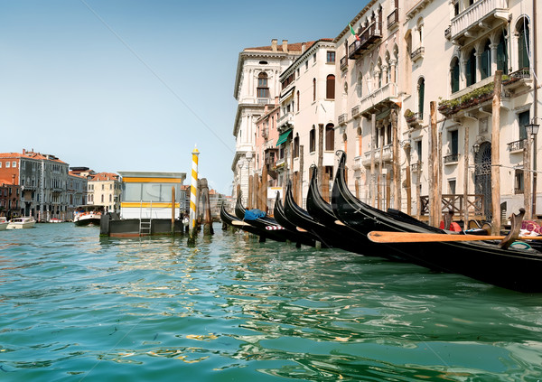Black gondolas in Venice Stock photo © Givaga