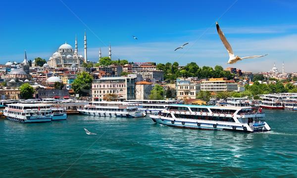 Hajók Isztambul turisztikai arany duda kilátás Stock fotó © Givaga