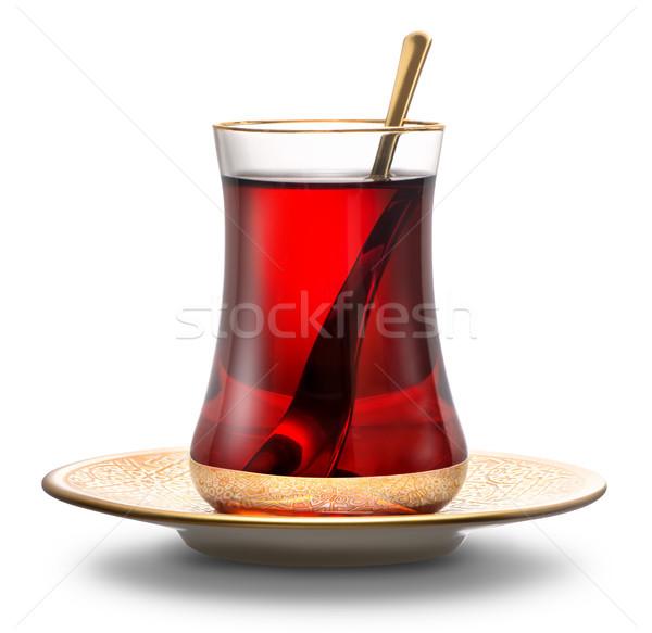 Alma török tea izolált fehér üveg Stock fotó © Givaga