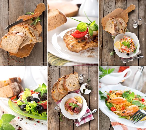 Collage preparado platos carne cereales alimentos Foto stock © Givaga