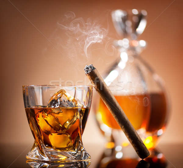 Cigar on glass Stock photo © Givaga