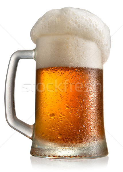 Mroźny piwa kubek szkła odizolowany biały Zdjęcia stock © Givaga
