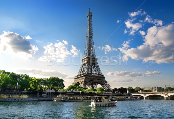 Párizsi nyár tájkép Eiffel-torony folyó Párizs Stock fotó © Givaga