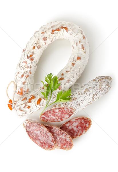 Szalámi kolbász petrezselyem izolált fehér étel Stock fotó © Givaga