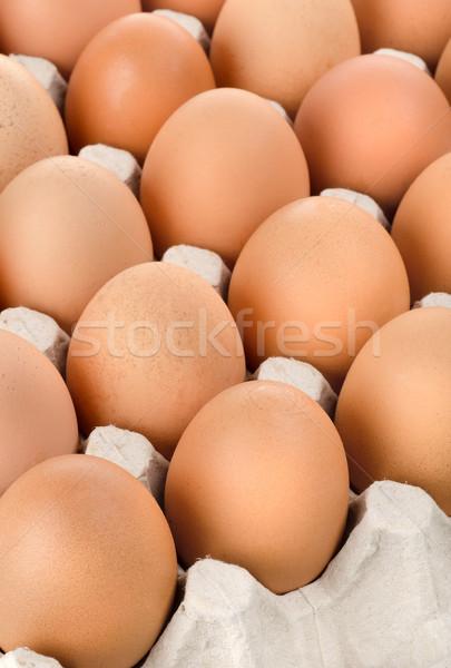 Eggs in cardboard tray Stock photo © Givaga
