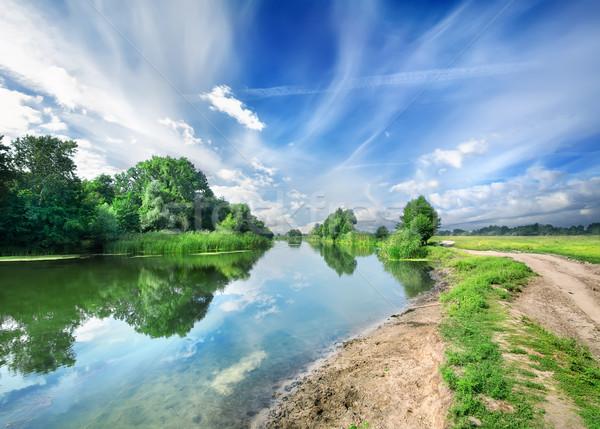 Silenzioso blu fiume cielo alberi Foto d'archivio © Givaga
