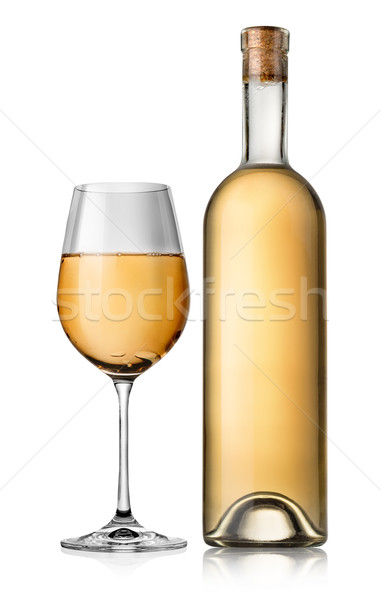 Bottle and white glass wine Stock photo © Givaga