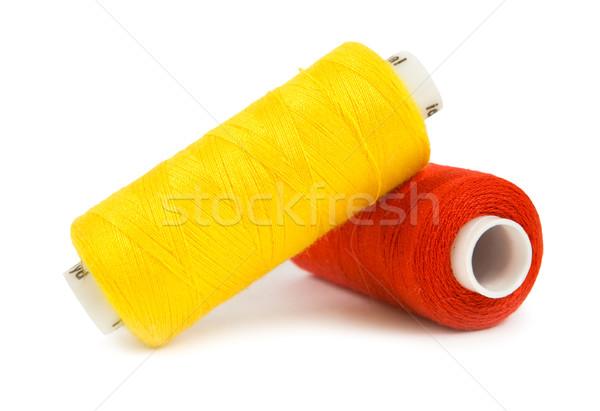 Kettő piros varr textil pamut fonál Stock fotó © Givaga