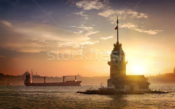Maiden's Tower and ships Stock photo © Givaga