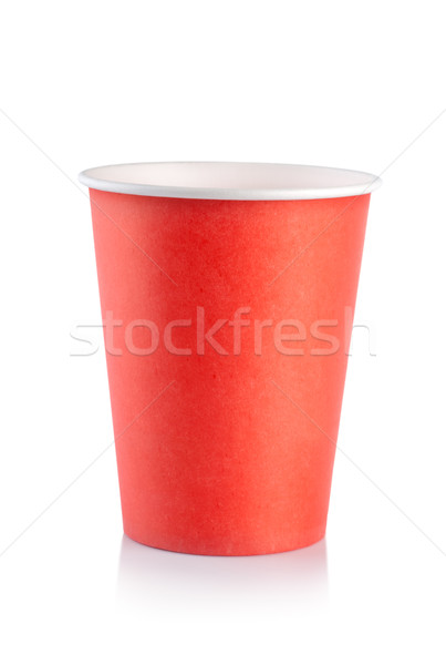 Rouge jetable tasse isolé blanche Photo stock © Givaga