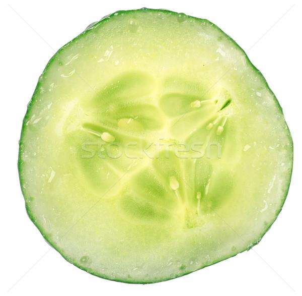 Pepino círculo porción aislado blanco verde Foto stock © Givaga