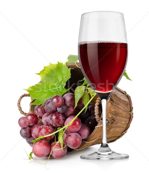 Stockfoto: Wijnglas · druiven · mand · houten · geïsoleerd · witte