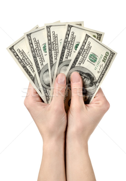 Hands holds hundreds of dollars Stock photo © Givaga