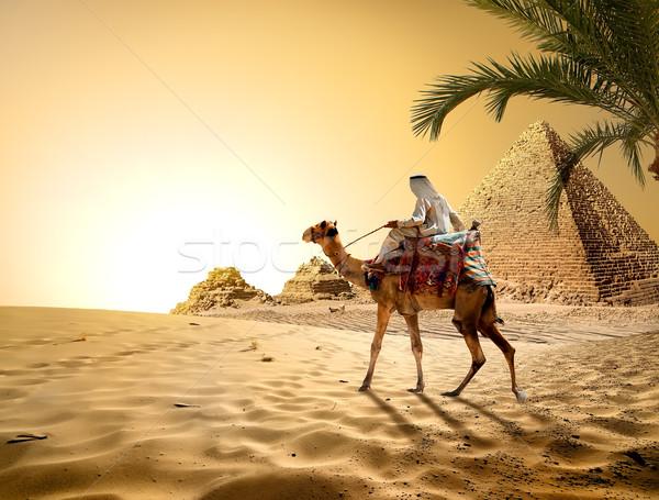 Stock photo: Pyramids in hot desert