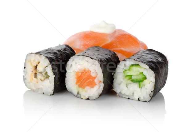 Foto stock: Sushi · isolado · branco · verde · rosa