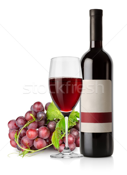 Dark blue grapes and red wine Stock photo © Givaga