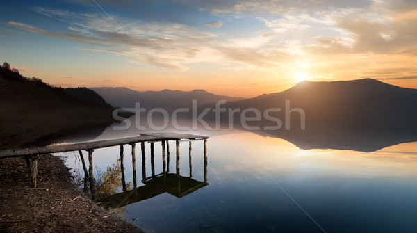 Fishing jetty on mountain river Stock photo © Givaga