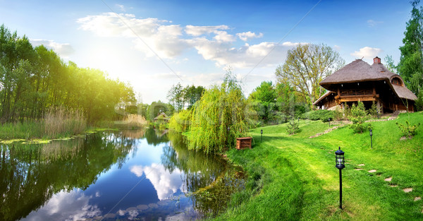 River and house of log Stock photo © Givaga