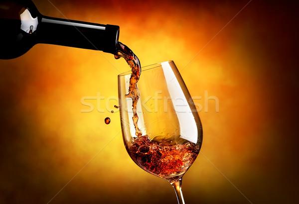 Wein orange Gießen Weinglas Design rot Stock foto © Givaga