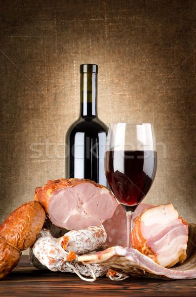 Photo stock: Vin · viande · vieux · toile · alimentaire · verre
