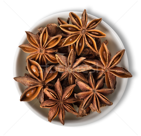 Star anise in plate isolated Stock photo © Givaga