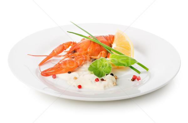 Aragosta bianco piatto isolato cena rosso Foto d'archivio © Givaga