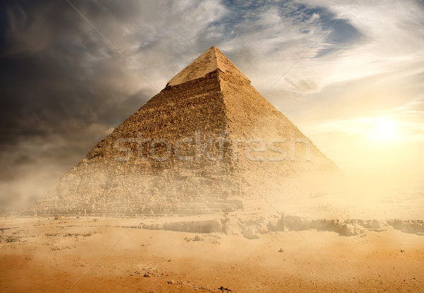 Pyramid in sand dust Stock photo © Givaga