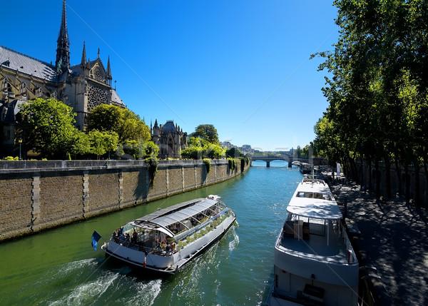 Boats near Notre Dame Stock photo © Givaga