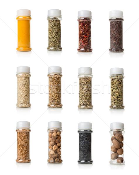 Kollázs fűszer izolált fehér étel konténer Stock fotó © Givaga