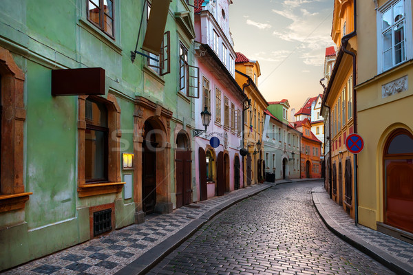 Narrow street in Prague Stock photo © Givaga