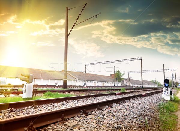 Trafik ışıkları trafik ışığı mavi sinyal demiryolu ışık Stok fotoğraf © Givaga