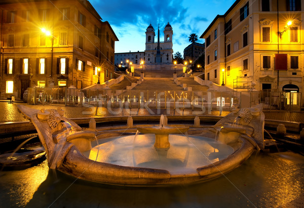 Spanish Steps and fountain Stock photo © Givaga