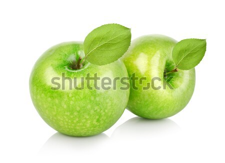 Two green apples with leaves Stock photo © Givaga