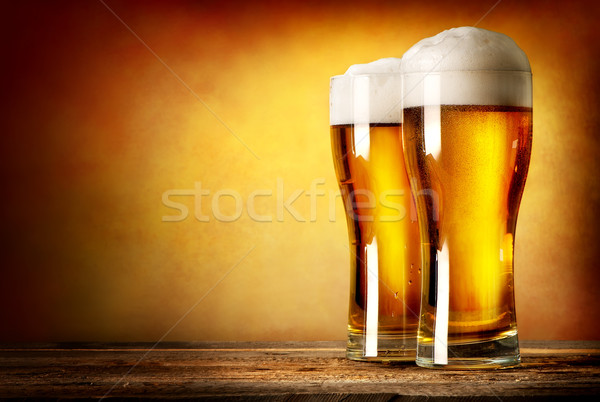 Two glasses of lager Stock photo © Givaga