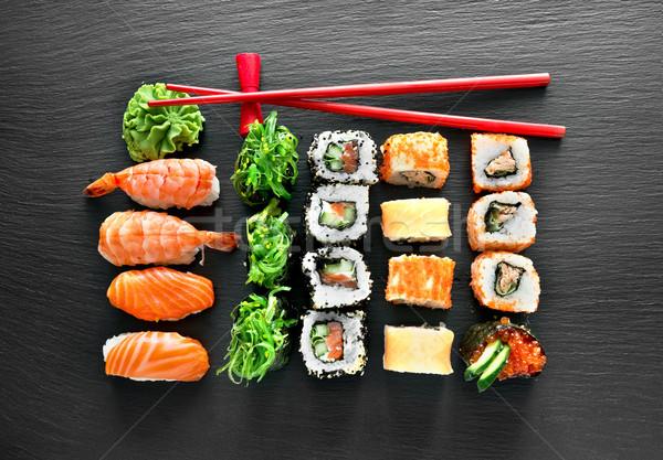 Sushi ayarlamak Çin yemek çubukları gıda tablo kırmızı Stok fotoğraf © Givaga