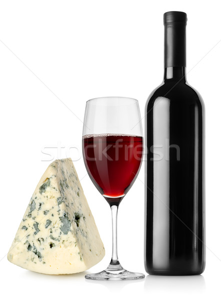 Wine bottle, wineglass and cheese Stock photo © Givaga