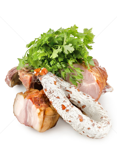 Cooked meat and cooked sausages Stock photo © Givaga