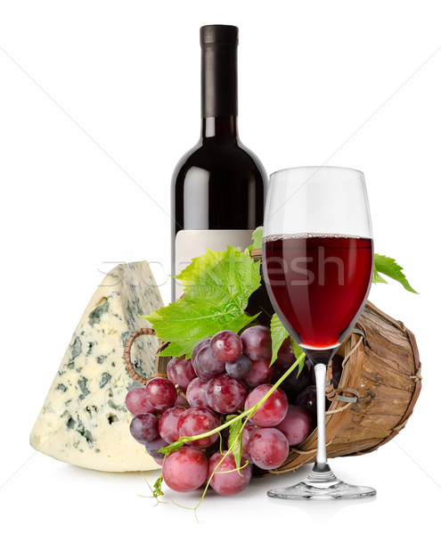 Wine cheese and grape in basket Stock photo © Givaga