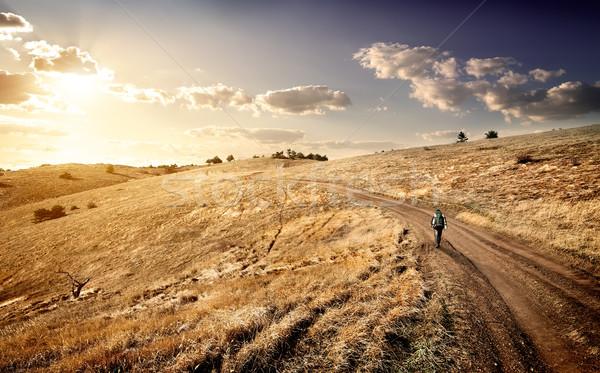 Podróży góry jesienią niebo trawy drogowego Zdjęcia stock © Givaga