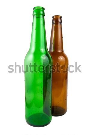 Twee bierfles gedekt waterdruppels geïsoleerd witte Stockfoto © Givaga