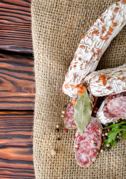 Salami saucisse épices table toile Photo stock © Givaga