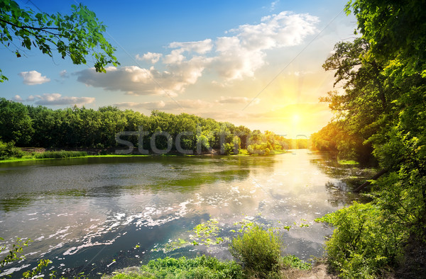 Sunset over the river Donets Stock photo © Givaga
