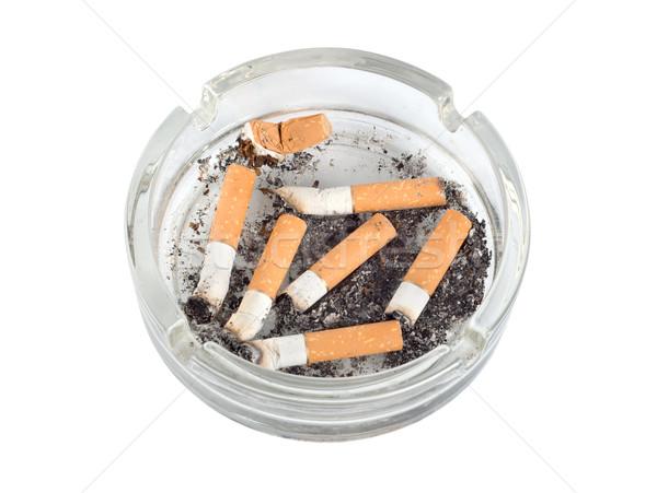 ストックフォト: 灰皿 · 孤立した · パス · タバコ · 白