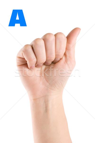 Levél ujj helyesírás ábécé amerikai jelbeszéd Stock fotó © Givaga