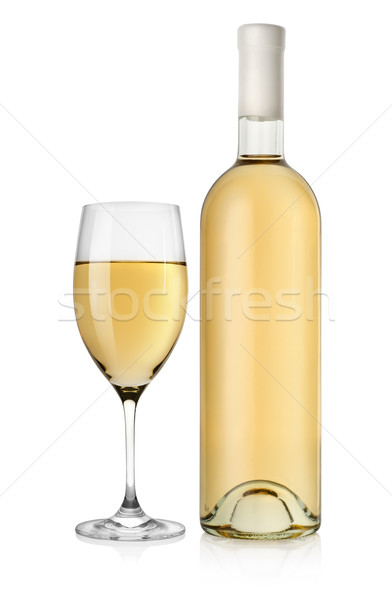Bottle of white wine and wine glass Stock photo © Givaga