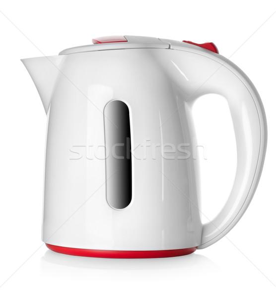 Сток-фото: белый · чайник · изолированный · кофе · электроэнергии · тень